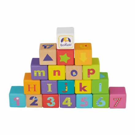 Wooden Building Blocks - ABC Cubes Set